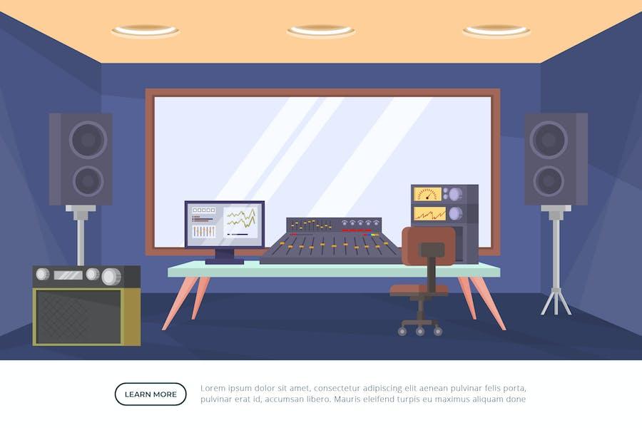 Студия звукозаписи - иллюстрация интерьера