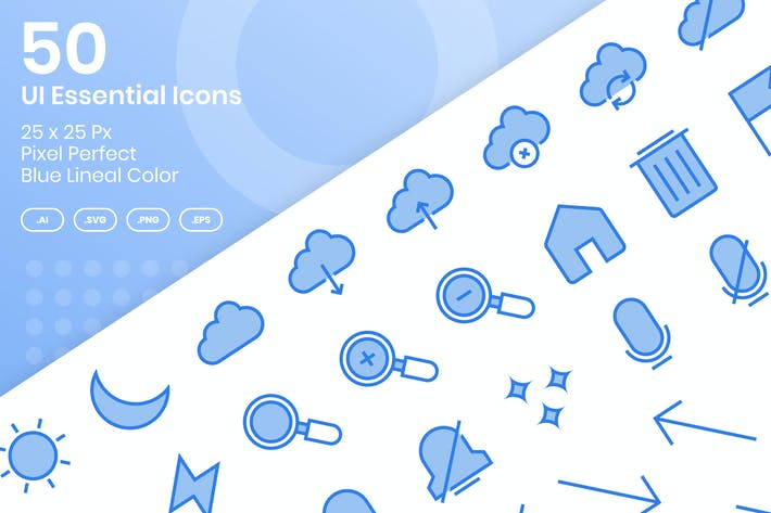 Thumbnail for 50 UI Essential Icons Set - Blue Lineal Color