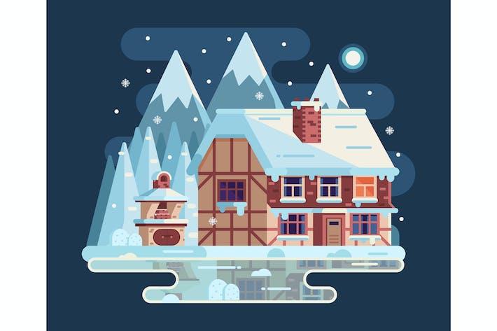 Thumbnail for Winter Cozy House Snowy Scene in Flat