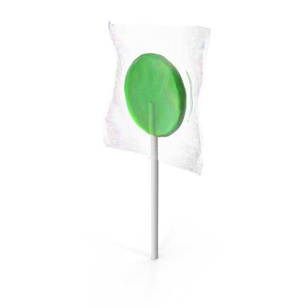 Wrapped Flat Lollipop Green