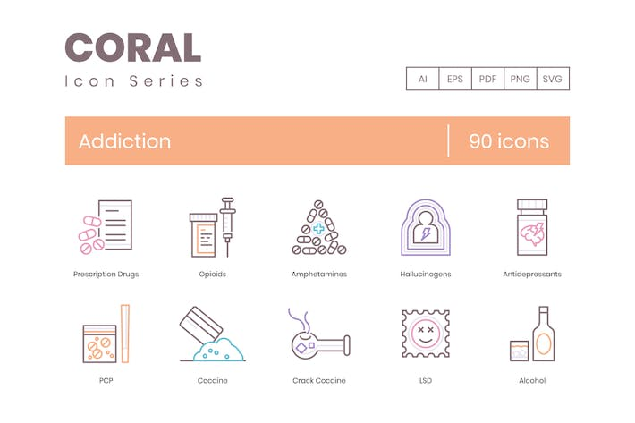 90 Addiction Icons - Coral Series