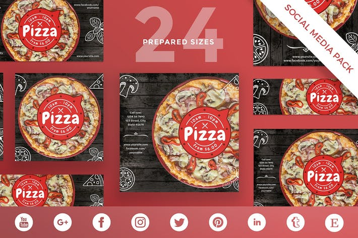 Thumbnail for Pizza Restaurant Social Media Pack Template