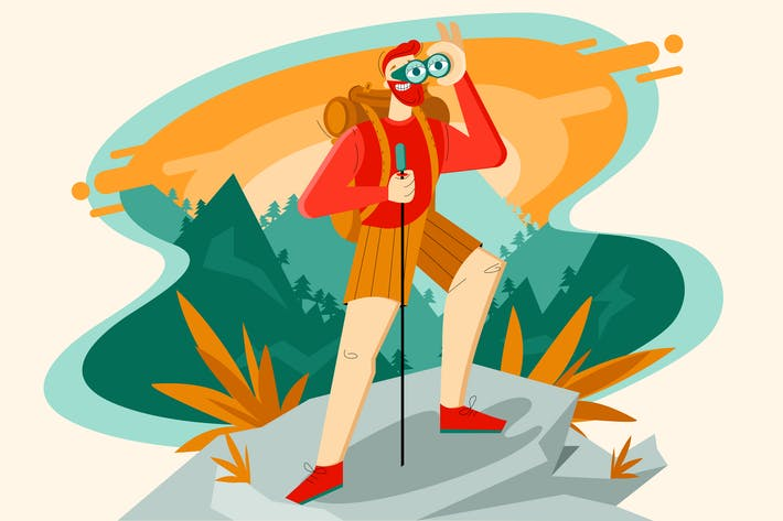 Hiking, adventures in nature illustration