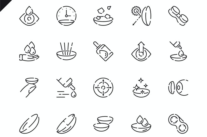 Thumbnail for Simple Set Eye Lens Line Icons