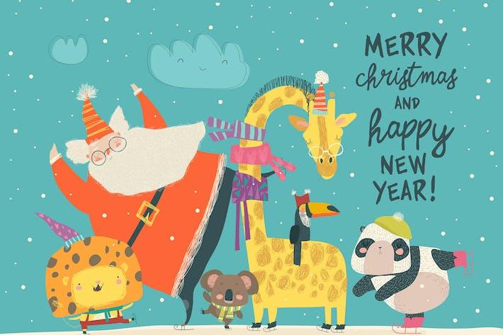 Thumbnail for Papá Noel patinando con león, jirafa, panda y k