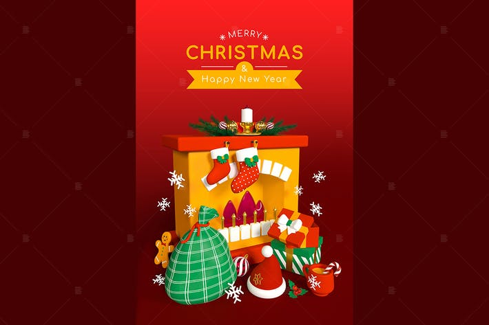 Merry Christmas and Happy New Year - 3d poster