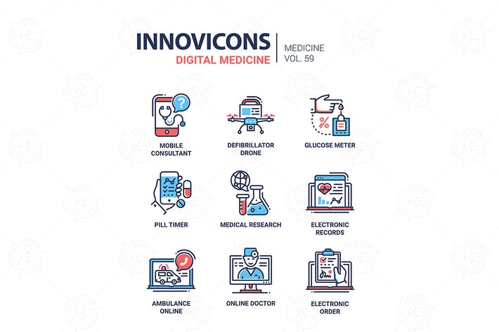 Thumbnail for Digital medicine - line design icons set