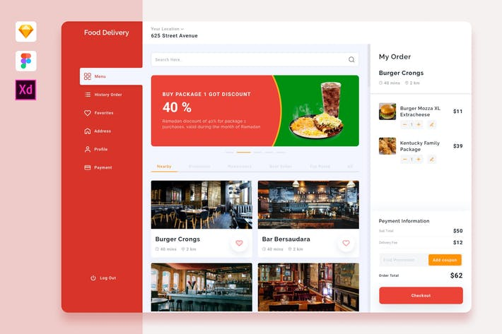 Thumbnail for Food Delivery Dashboard Template
