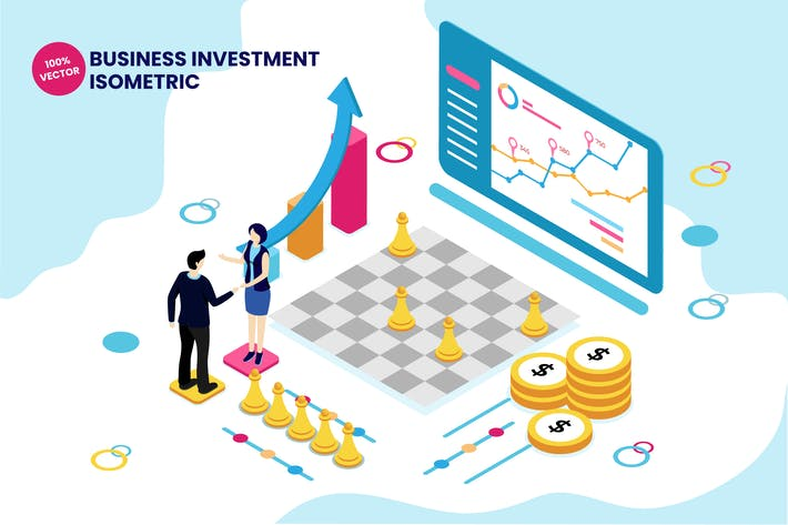 Thumbnail for Isometric Business Investment Vector Illustration