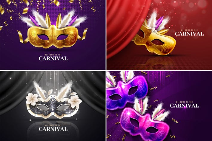 Thumbnail for Colorful Mardi Gras & Carnival Backgrounds