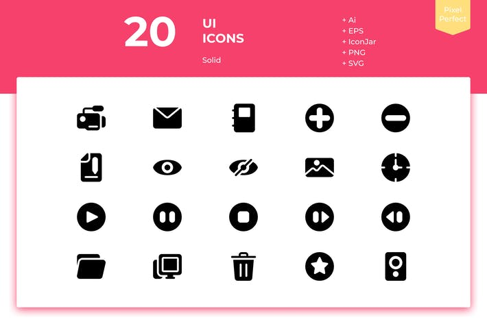 Thumbnail for 20 UI Icons (Solid)