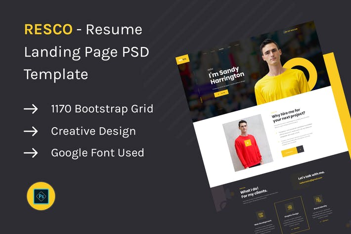 Thumbnail for Resco - Resume Landing Page PSD Template