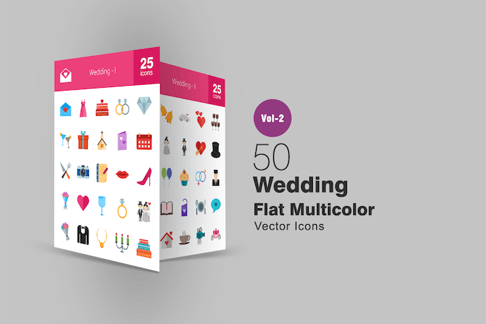 Thumbnail for 50 Wedding Flat Multicolor Icons