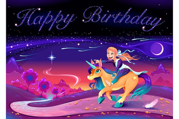 Cover Image For Happy Birthday Card with Girl Riding the Unicorn