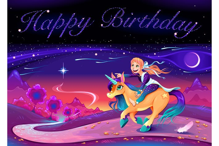 Thumbnail for Happy Birthday Card with Girl Riding the Unicorn