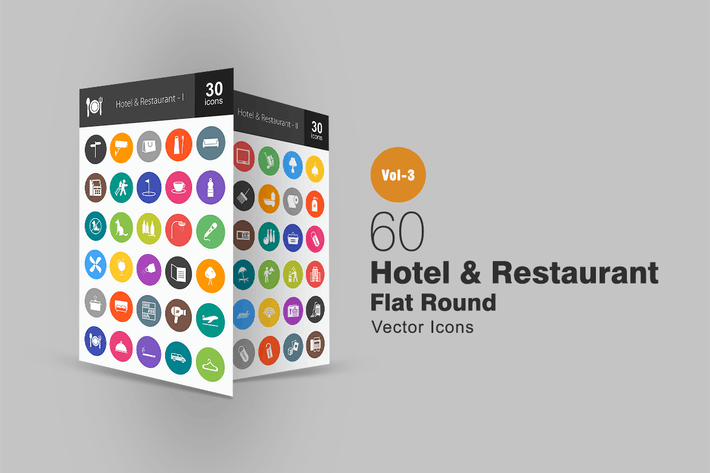 Thumbnail for 60 Hotel & Restaurant Flat Round Icons