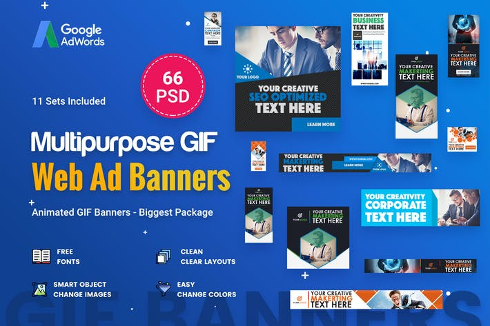 Thumbnail for Animated GIF Multipurpose Banner Ad - 66 PSD