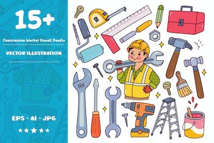 Construction Worker Equipment Kawaii Doodle Set