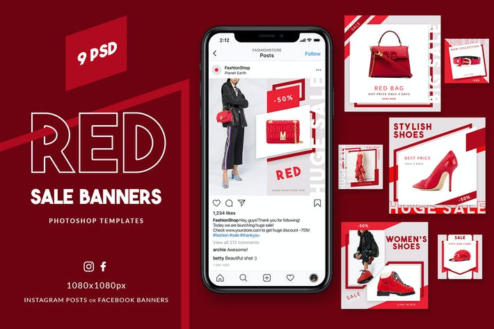 Thumbnail for Red Sale Instagram Banners
