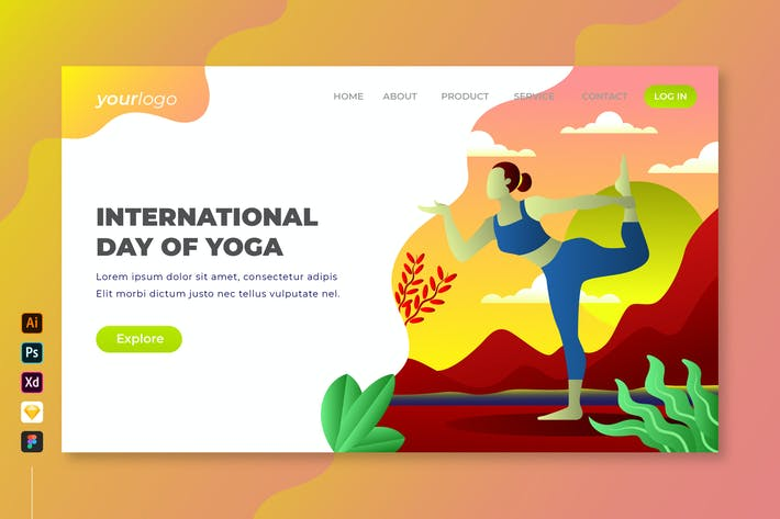 Thumbnail for International Day of Yoga - Vector Landing Page