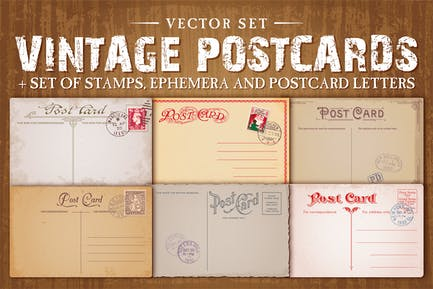Vintage Postkarten Vektor -Set