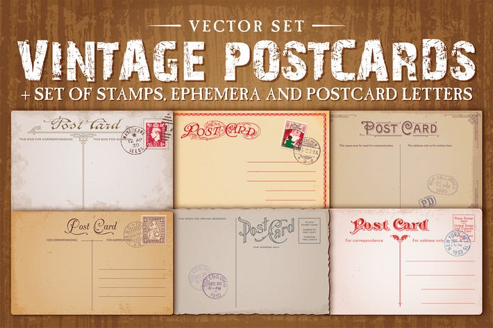 Thumbnail for Vintage Postcards Vector Set