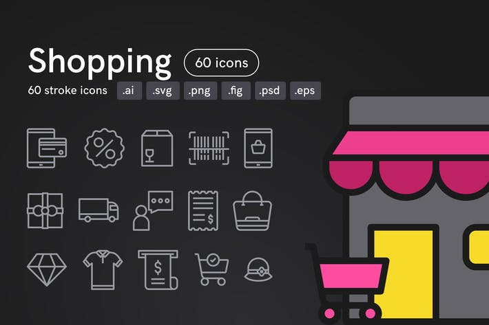 Thumbnail for Shopping Icons (60 icons)