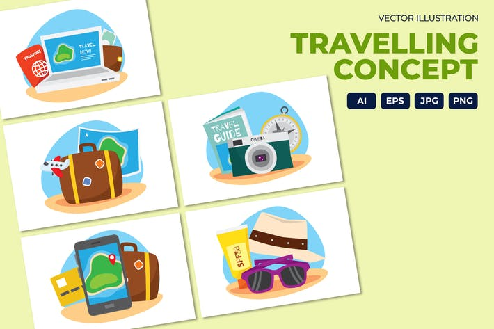 Thumbnail for Travelling items vector