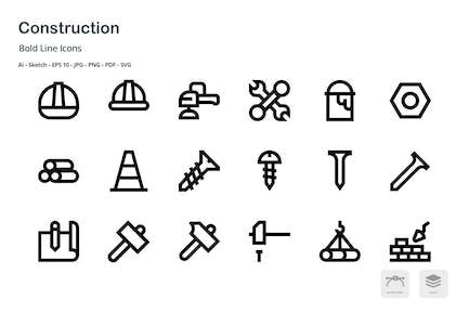 Construction Mini Bold Line Vector Icons