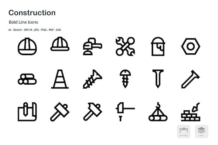Thumbnail for Iconos vectoriales de línea en negrita de construcción