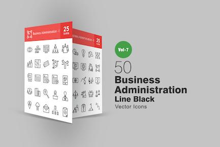 50 Íconos de línea de administración Negocios