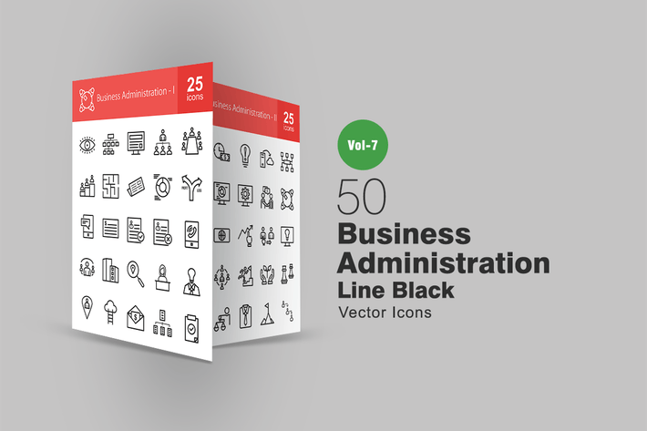 Thumbnail for 50 Business Administration Line Icons