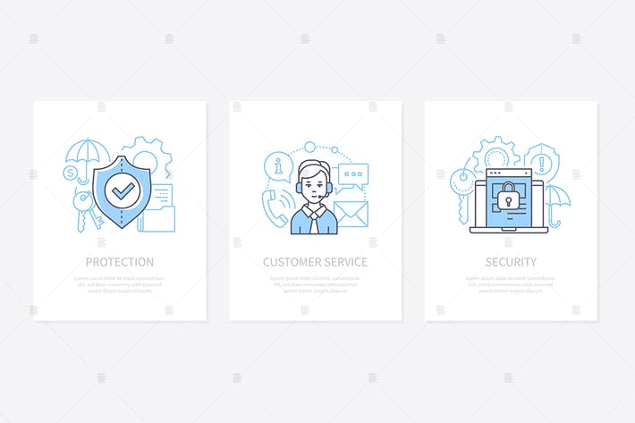 Thumbnail for Data protection - line design style icons set