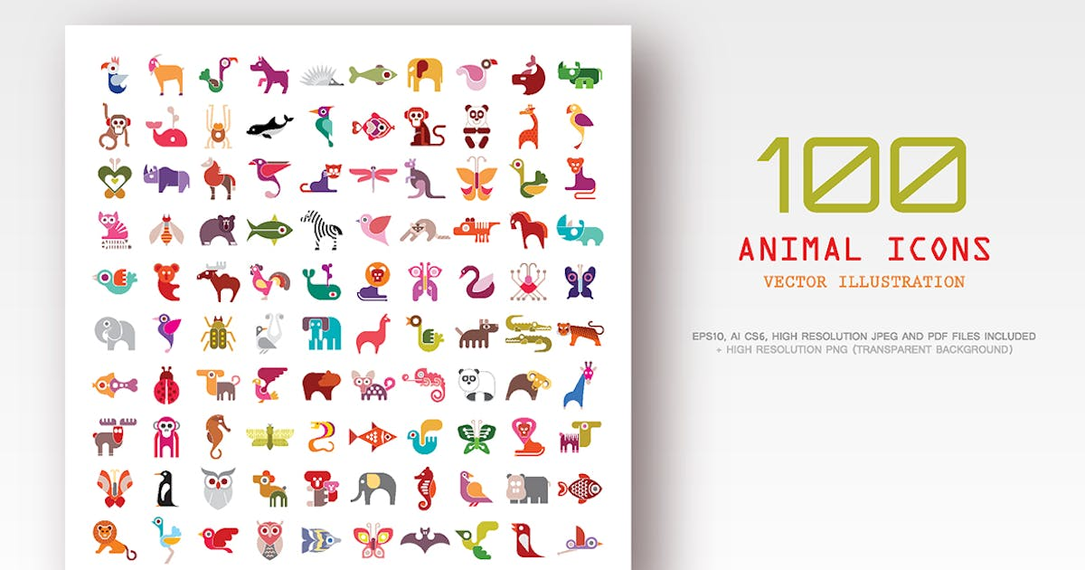 100 Animal vector icons by danjazzia