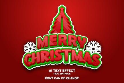 merry christmas 3d text effect