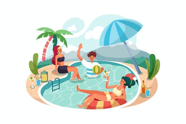 Happy people enjoying swimming pool party