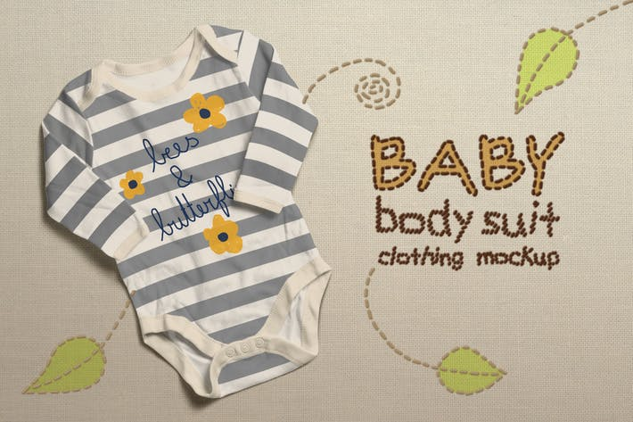 Thumbnail for Baby Bodysuit Clothing Mock-up
