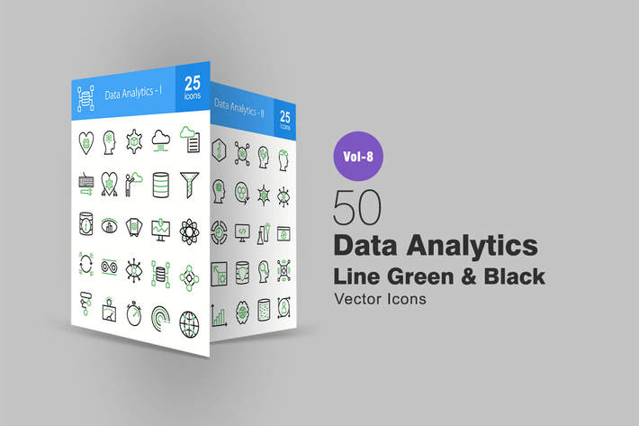 Cover Image For 50 Data Analytics Green & Black Line Icons