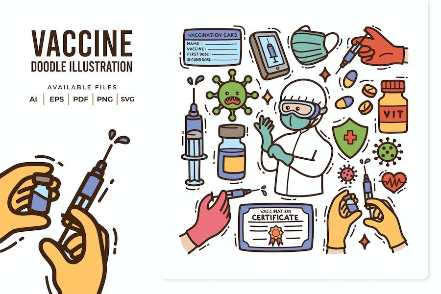 Vaccine Doodle Illustration