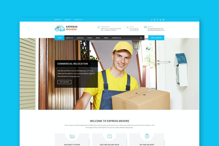 Thumbnail for Express Movers - Moving Company PSD Template