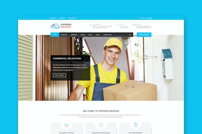 Cover Image For Express Movers - Moving Company PSD Template