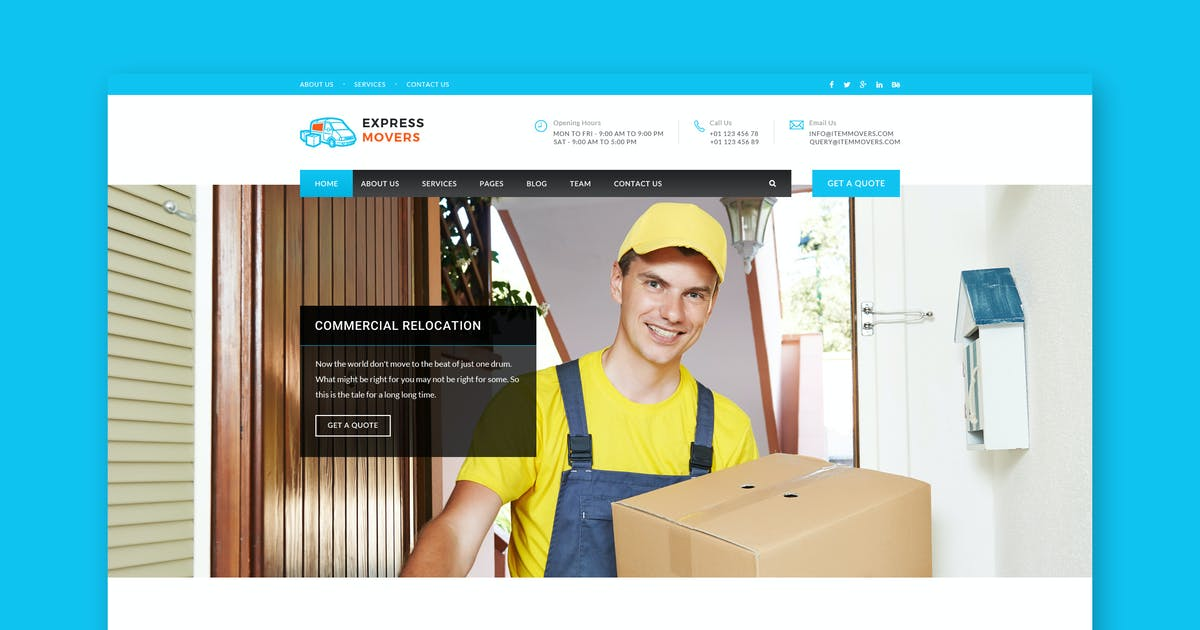 Download Express Movers - Moving Company PSD Template by PremiumLayers