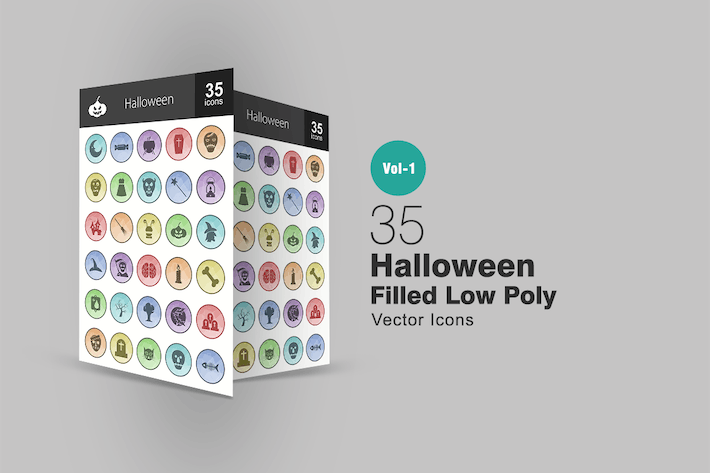 Cover Image For 35 Halloween Filled Low Poly Icons