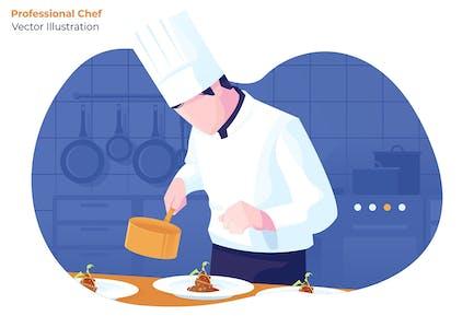 Professional Chef - Vector Illustration