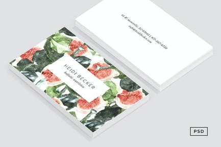 Watercolor Fig Pattern Business Card