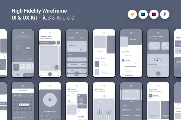 Cover Image For High Fidelity Wireframe UI UX Kit iOS Android App