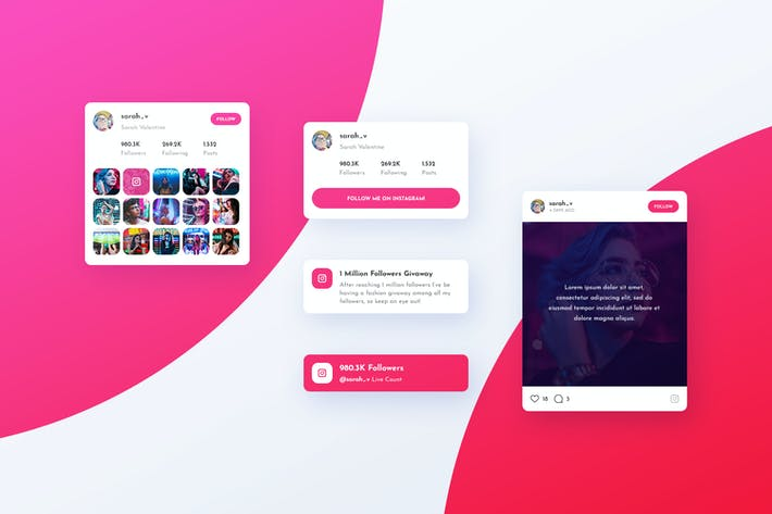 Thumbnail for Asgard Plugin - Instagram UI Cards - PSD Template