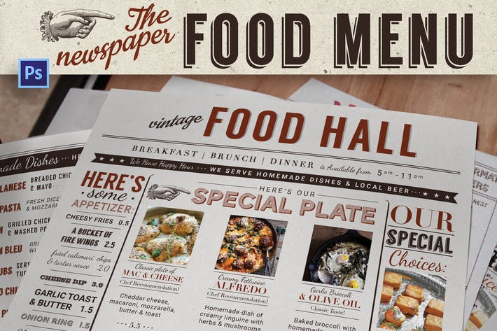 Thumbnail for Newspaper Food Menu