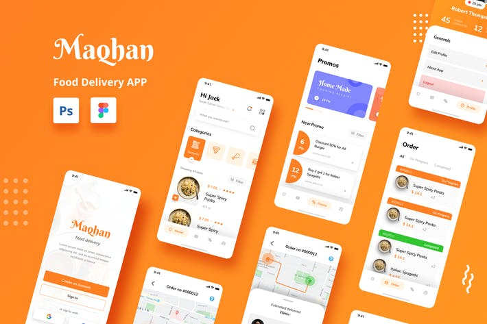 Thumbnail for Food Delivery iOS App UI PSD und Figma Vorlage