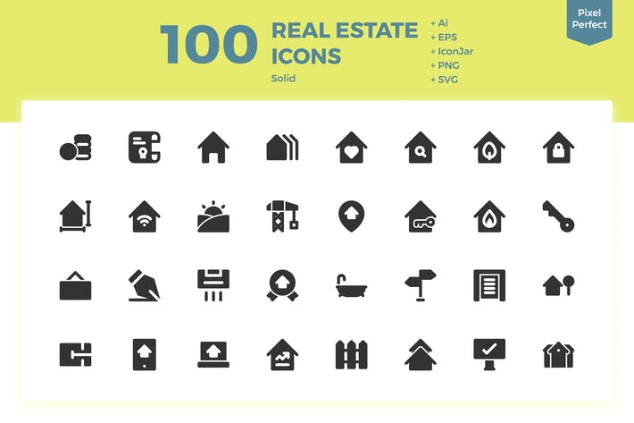 Thumbnail for 100 Real Estate Icons (Solid)